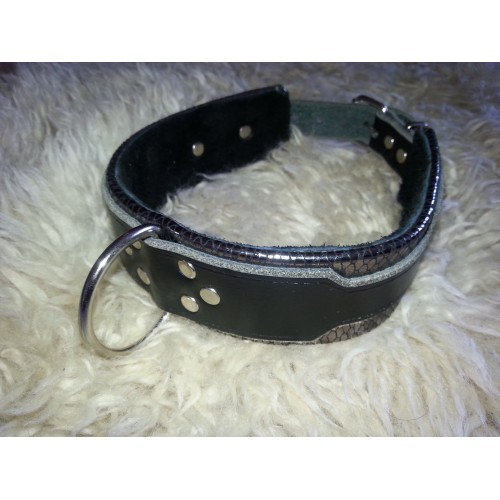 Leather Collar - Silver & Black