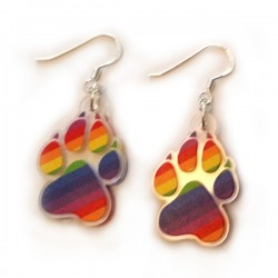 Earrings - Rainbow Paw